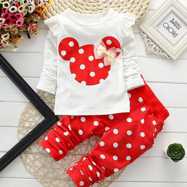 Girls Clothes Kids T-shirt Legging Pants Sport Suit  Toddler Girl Clothing Suit  Sports Girl Suit  Minnie Holiday Children Sets