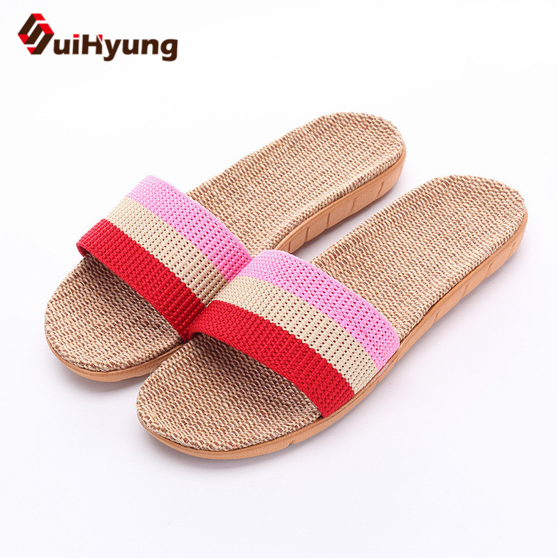 Suihyung 2018 New Female Summer Shoes Flats Linen Slippers Rainbow Stripe Non-slip Beach Flip Flops Sandals Women Hemp Slippers used good condition la255 3 with free dhl