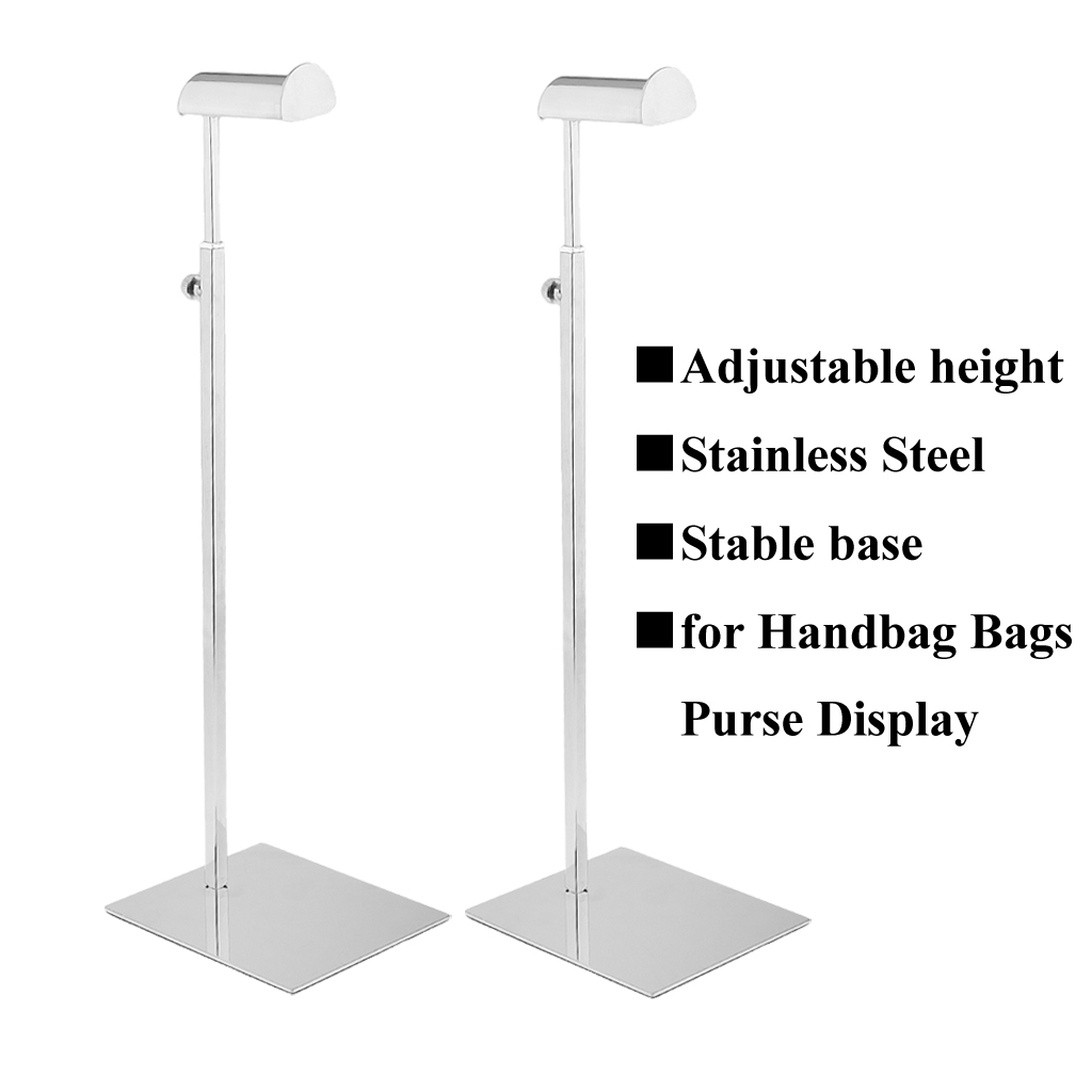 2pcs Stainless Steel Adjustable Height Handbag <font><b>Display</b></font> Stand Rack Bags Purse Shelf Hanger Scarf Organizer Stand for Retail Store