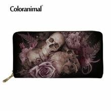 Coloranimal Leather Wallet Luxury Design Women Men Long Shopper Storage Purse Wallets Skull Sugar Print Womens Casual PU