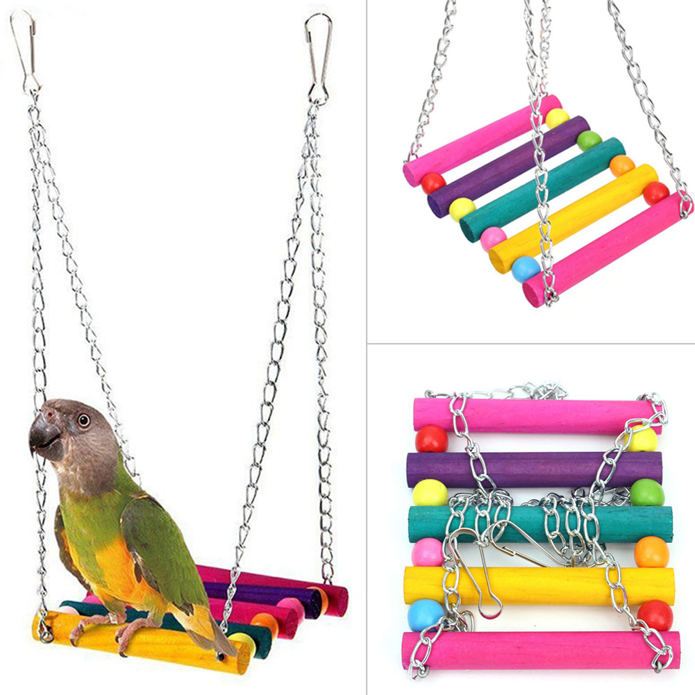 Colorful Bird Toy Parrot Swing Cage Toy Parakeet Cockatiel  Lovebird Woodens Parrots Swings Toys Hanging Chew Toy