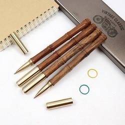Presentes de escrita de luxo de madeira + caneta esferográfica de metal 0.5mm azul & preto tinta para escritório escola artigos de papelaria suprimentos escrita caneta bola
