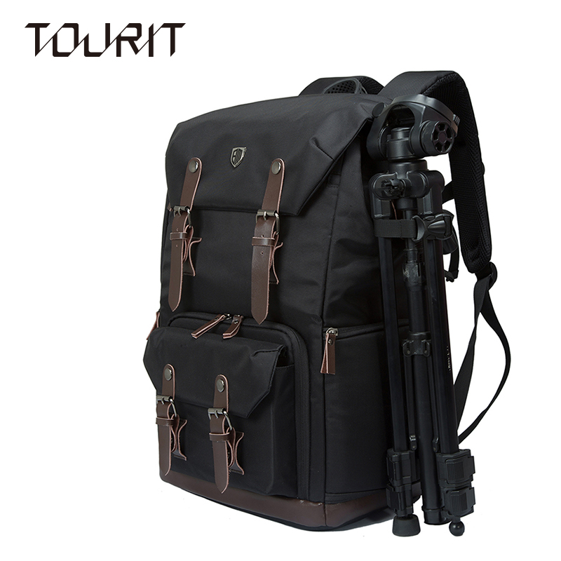 TOURIT New SLR Camera Backpack Bag Canvas&Leather Retro Camera Bag NATIONAL GEOGRAPHIC Camera Backpack Travel Camera Bag national geographic leather travel camera bag soft photography bag shoulder messenger bag for canon nikon digital slr laptop