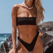 Черный бикини сплошной купальный костюм женские сексуальные с открытыми плечами купальный костюм, купальник монокини Бразильский бикини 2019