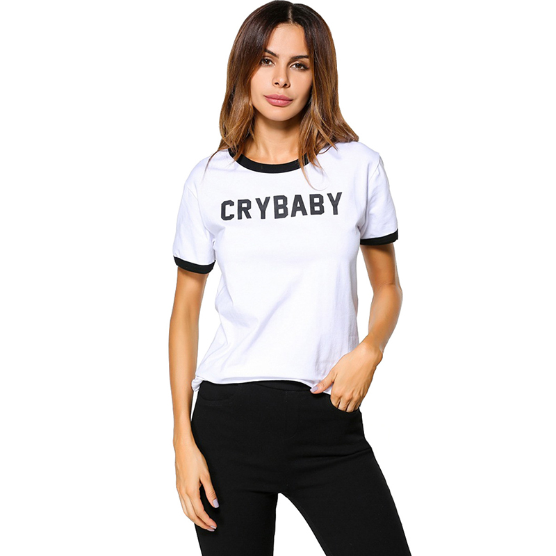 Women White T-Shirt Black Hem Casual Style Cry Baby Slogan Short Sleeves T-Shirt