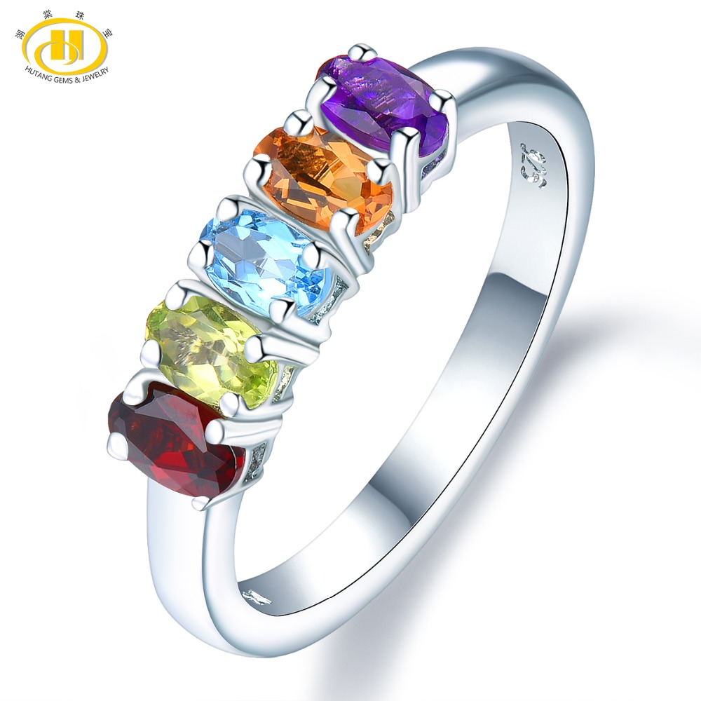 Natural Gemstone Rings 1.27 Carat Natural Gemstone Amethyst Citrine Topaz 925 Sterling Silver Ring Fine Jewelry for Women's Gift