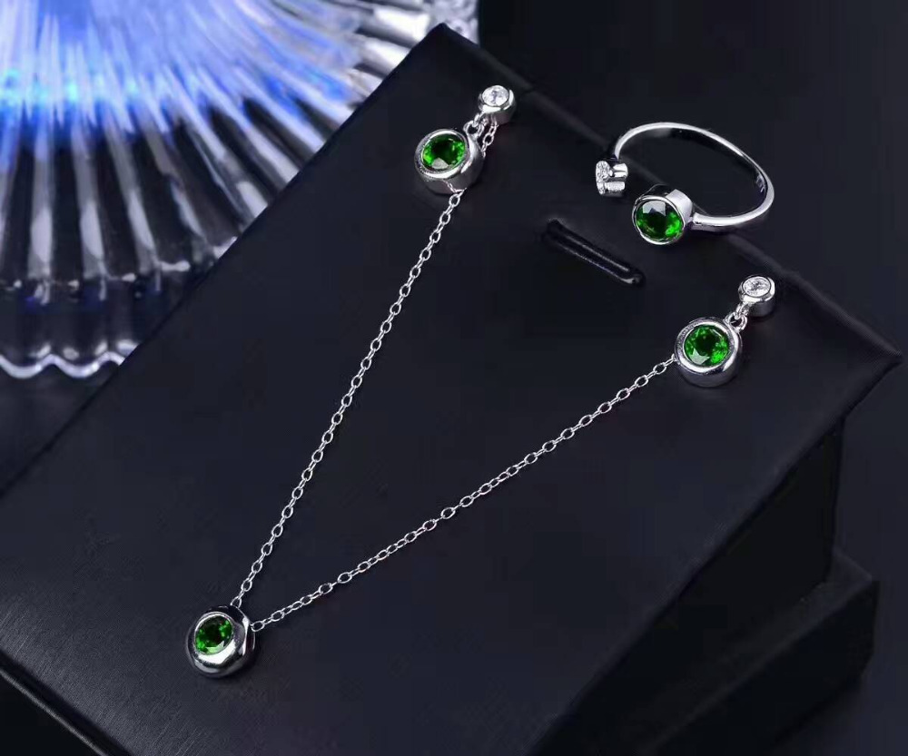 Natural green diopside Ring Pendant Earrings Natural Gemstone Jewelry Set 925 Silver Simple Round Women party Necklace ring