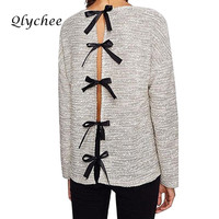 Qlychee Autumn Back Bow Tie Female Sweater Cut Out O Neck Long Sleeve Women Sweater Sexy