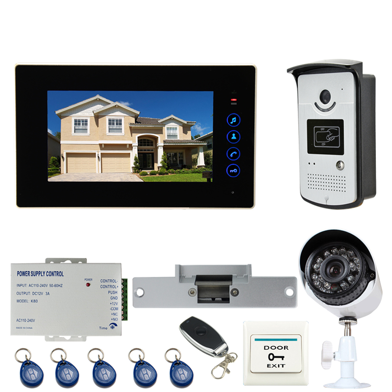 JEX 7 inch Video Door phone Doorbell Door Phone Entry Intercom System kit 700TVL Waterproof RFID Access Camera+CCTV Camera+POWER ...