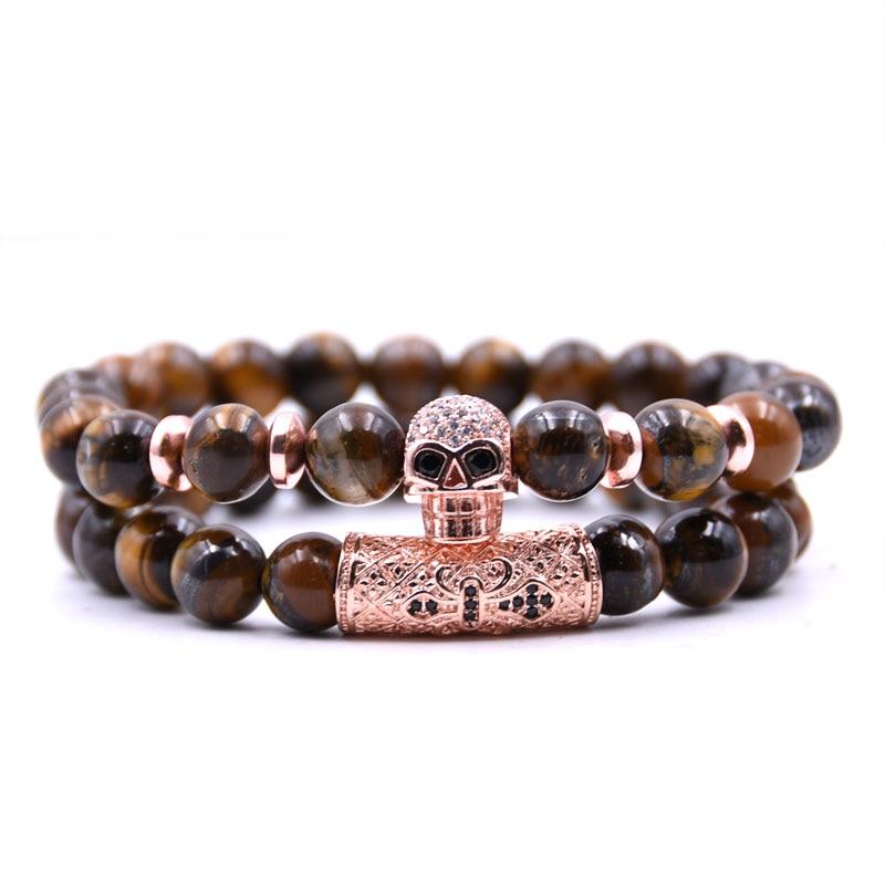 KANGKANG 2Pcs Set 2019 5 color 8mm stone Bracelet Pave CZ Rose gold skull Bracelets for Men Women Jewelry Creative gift in Strand Bracelets from Jewelry Accessories