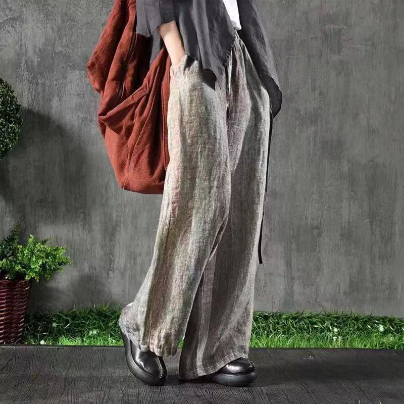Primavera 2019 A 1 Pantalones Mori Vintage Rayas Elástico Casual figure Gran 2 Tamaño Bolsillo Con Nuevos Cintura Retro De Las Chica Mujeres Figure aaxRrOqw