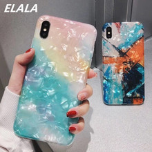 Glossy Marble Case For iphone 7 Case Funny Graffiti Pattern Glitter Conch Silicone Cover For iPhone X XR XS Max 6S 7 8 Plus Case