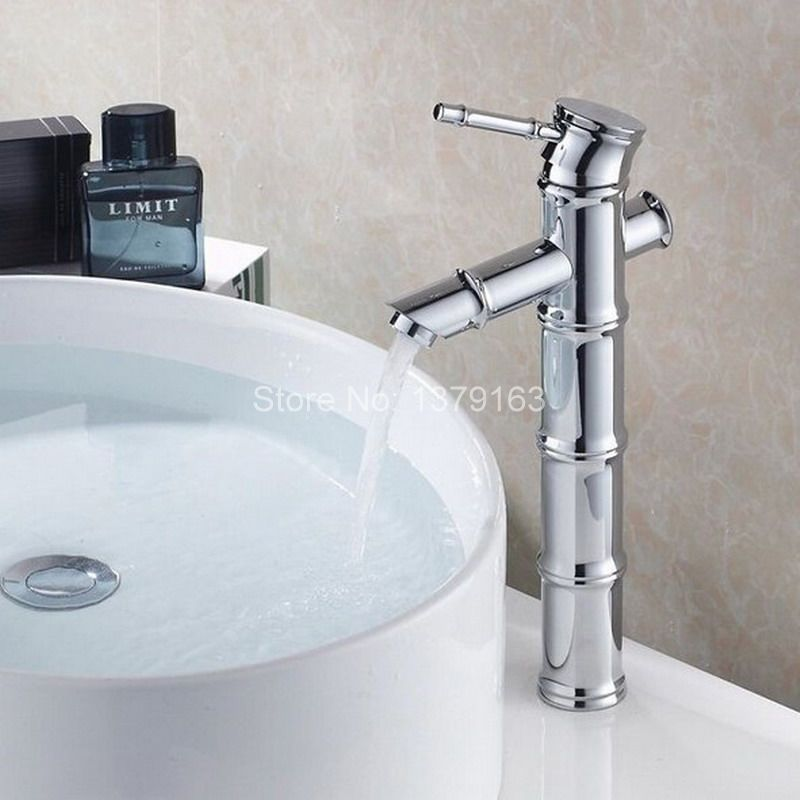 Brass Bathroom Single Handle Mixer Tap Chrome Finished: New Polished Chrome Brass Bamboo Style Single Handle Lever