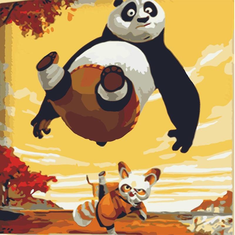 Pintura DIY Por Números Pintura Da Lona Pintado À Mão Kung fu panda Dos Desenhos Animados Início Wall Art Imagem Para Sala de estar Presente Original