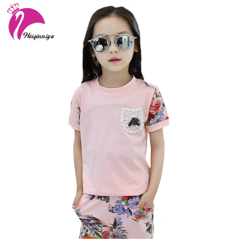 New Baby Girls Summer Suits 2017 Fashion Shirts+Print Pants Two-Piece Children's Casual Floral O-Neck Pullover Clothing Hot Sale kids girls summer 2014 new o neck short sleeve floral sports suits fashion print cartoon clothing sets t shirts and pants h2691