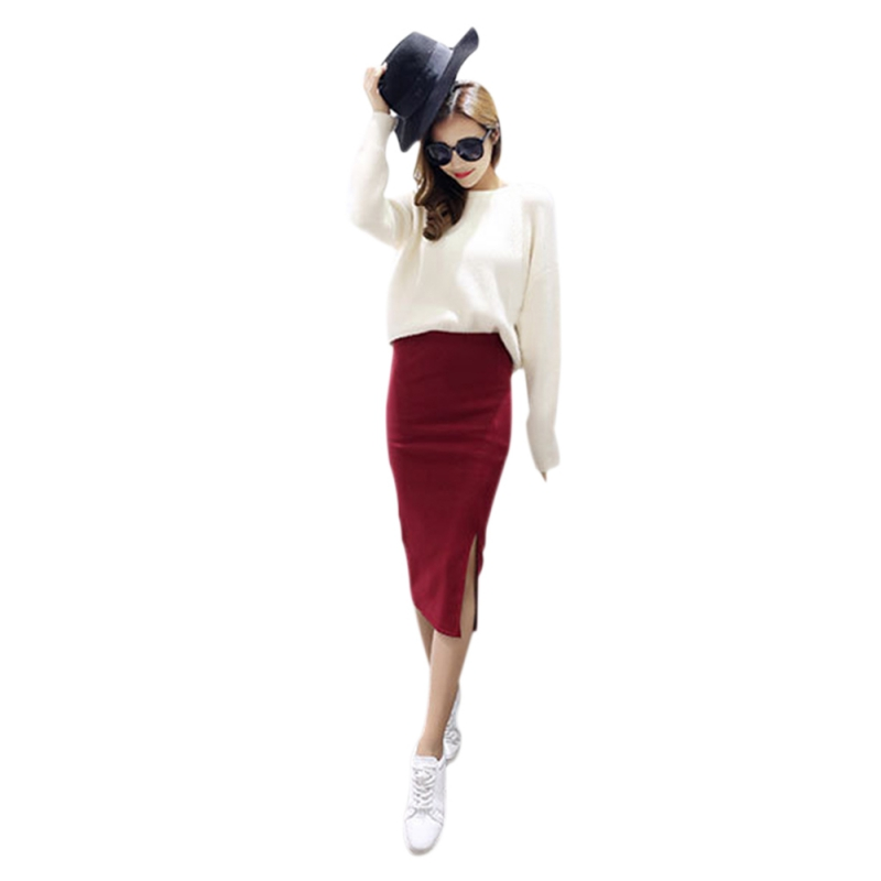 Autumn Winter Package Hip Skirt Slit Skirts Women Step Stretch Slim Thin Female Waist Solid Skirts