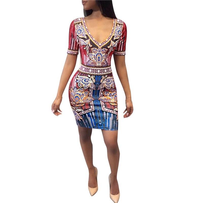 snowshine YLI Women Sexy Africa Print Deep V Dress Short Sleeve Skinny Elastic Mini Dress free shipping