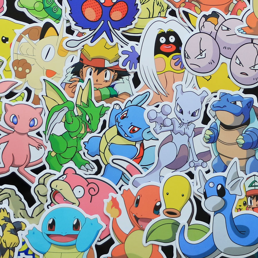 80pieces-lot-160-kinds-waterproof-cartoon-stickers-for-wall-decor-fridge-bike-laptop-car-stickers-pokemones-figure-toys