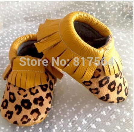 4pairs/lot leopard horsehair tassel shoes moccasins Genuine leather baby soft sole moccs bootiesToddler/infant fringe prewalker
