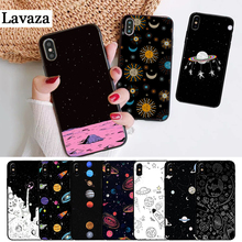 Lavaza space Stars Moon Airship Astronaut Silicone Case for iPhone 5 5S 6 6S Plus 7 8 11 Pro X XS Max XR