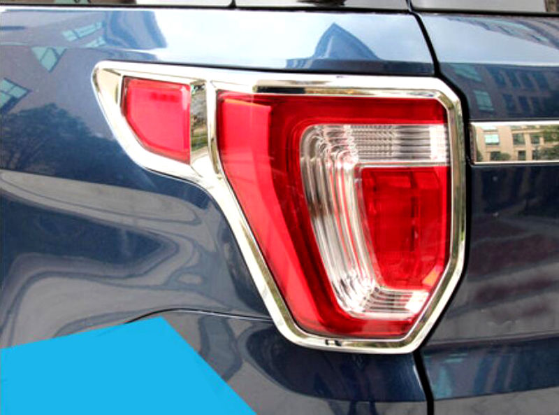 ABS Plastic Chrome Rear Tail Light Lamp Cover Trim 2pcs For Ford Explorer 2016- 2018
