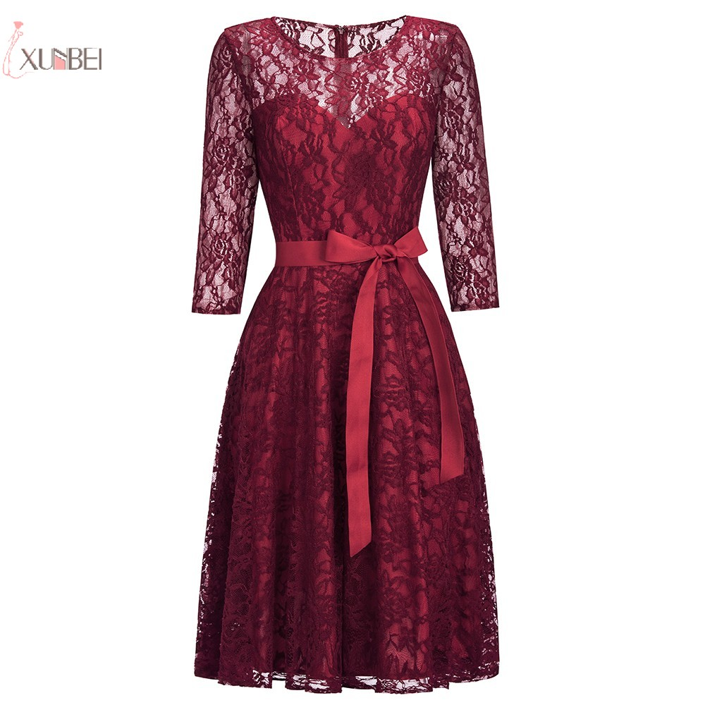 2019 Sexy Plus Size Burgundy Red Lace Short   Cocktail     Dresses   Half Sleeve robe   cocktail   Party   Dress   vestidos coctel