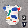 Preax Kids Cotton Baby Girls Boys short sleeve Romper Jumpsuit One-pieces Sleeping Moon graffiti Outfits infant summer clothing