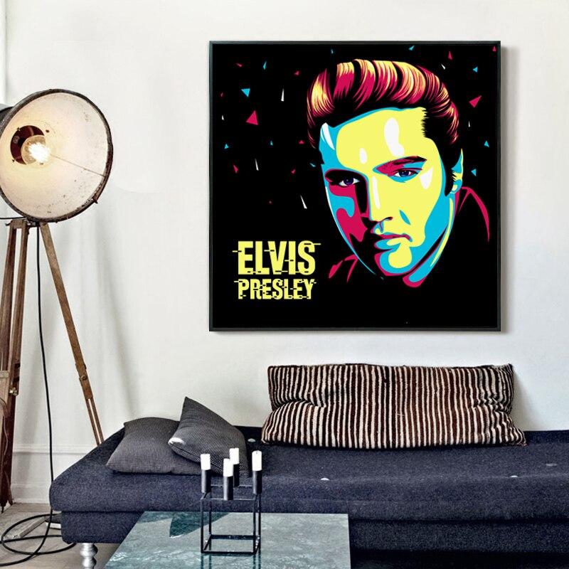 FGHGF Simple Classic Singer Elvis Presley Colorful Art Portrait Canvas Painting Print Im ...