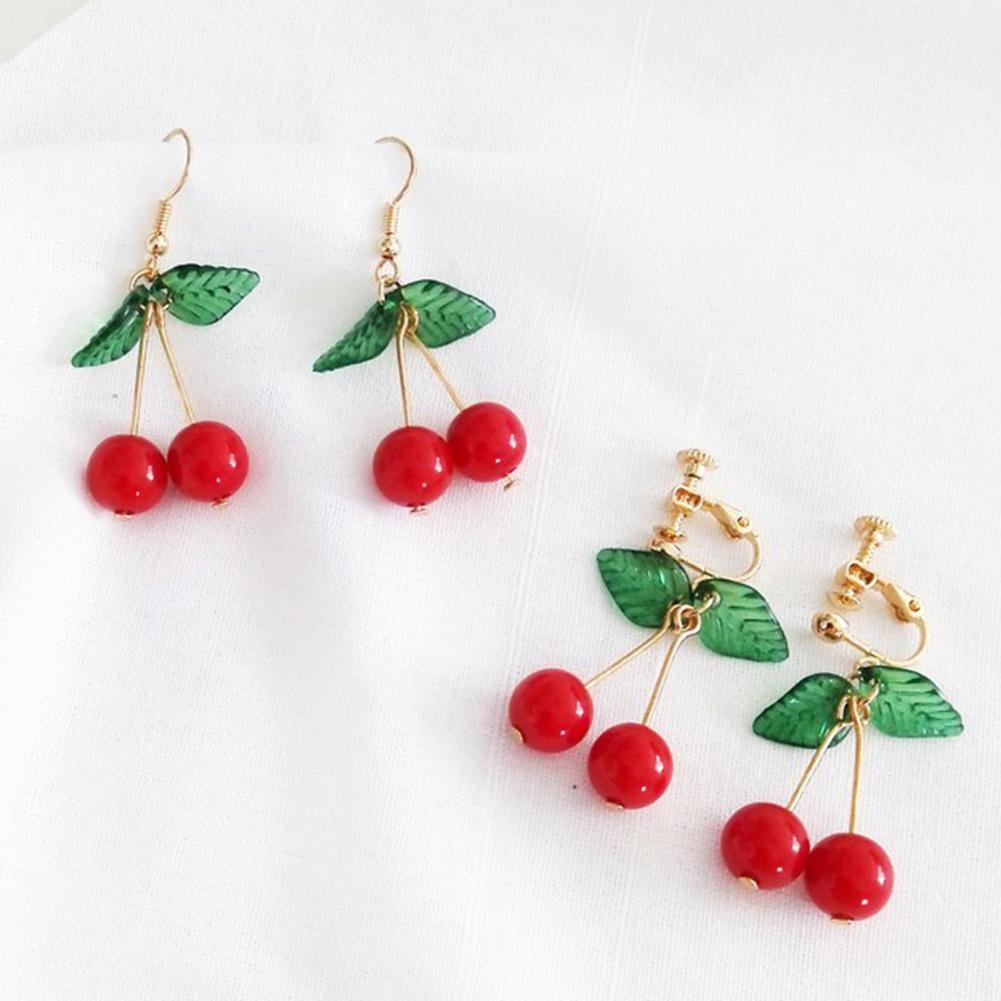 Earrings 2019 Jewelry Sweet Fruit Green Leaf Red Cherry Dangle Women Ear Hook Clip Earrings For Women Jewelry(China)
