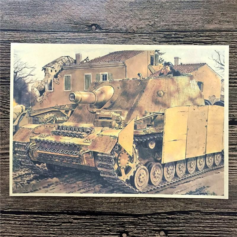 Retro Kraft Paper Poster Camouflage Battle Tanks For Home Decor A Poster Paper Graft