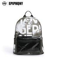 Epiphqny Brand Big Letter Backpack Cloud Printing PU Shoulder Bag Pack Transparent Clear Pocket Gray Light
