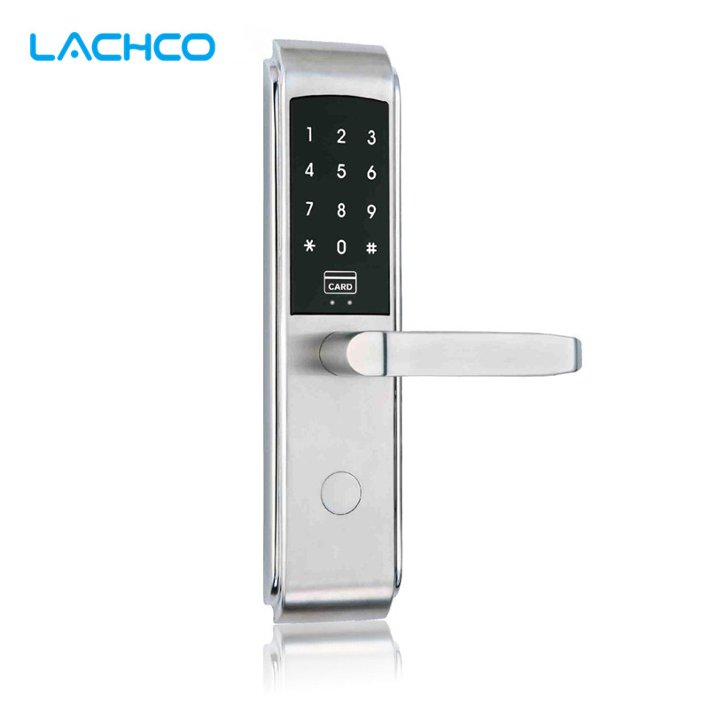 LACHCO Smart Door Lock Digital Touch Screen Password+RFID Card+Key 3 way Access Control Keyless L17017SS