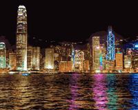 MaHuaf-j157 Hong Kong città luce di notte pittura di DIY dai numeri su tela per la decorazione domestica