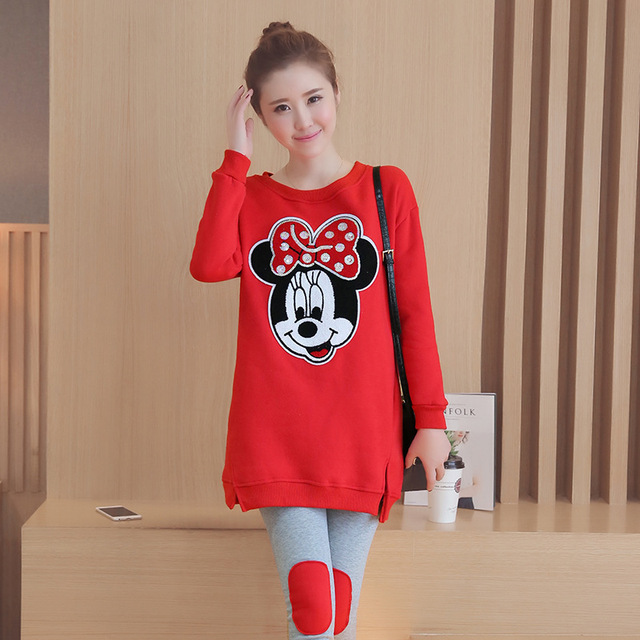 2016 new loose plus velvet red thick Mickey pregnant women suit