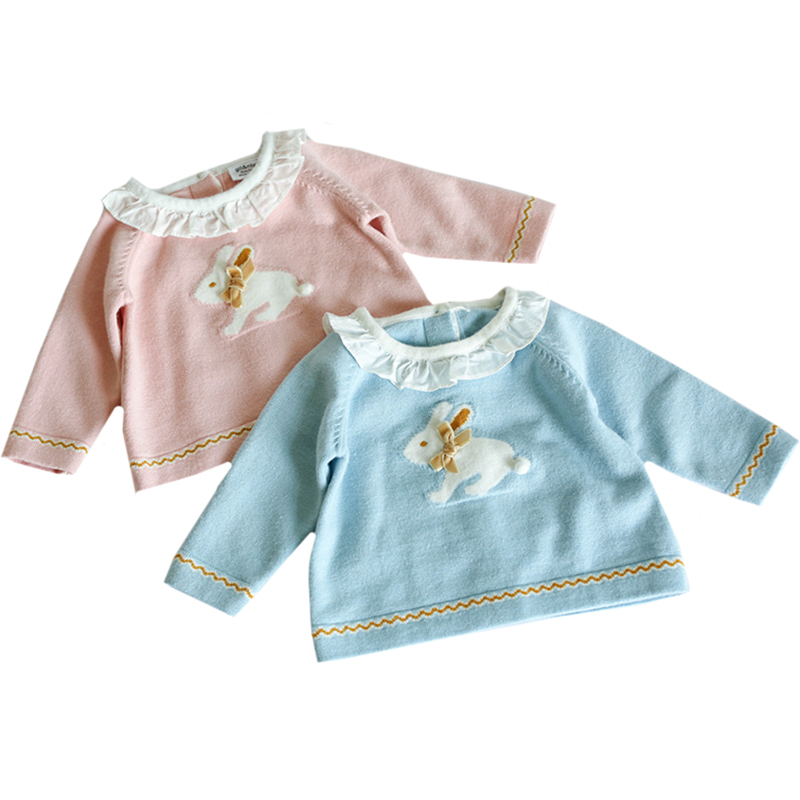 Kids Knitted Pullover Ruffles Girls Sweater Infant Sweaters Sweet Rabbit Sweater Pink Blue Baby Girls Knit Tops Toddler Clothes