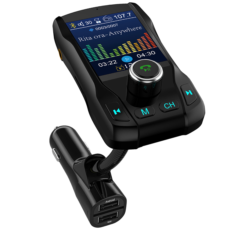 Car mp3 player fm transmitter music U disk TF card Bluetooth receiver aux audio output color screen 1 8 inch car charger in Car MP3 Players from Automobiles Motorcycles