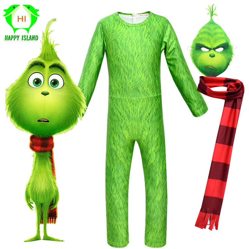 2019 Grinch Cosplay Costume Boy GRINCH FULL FACE Scarf Green Grinch Children The Grinch Jumpsuits Halloween Party Dress Up Suits