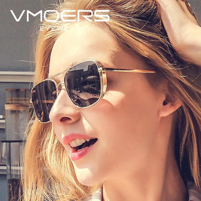 dbab2690d9 VMOERS Ladies Metal Square Sunglasses Women Pilot HD UV400 Female Sun  Glasses For Women Brand Designer