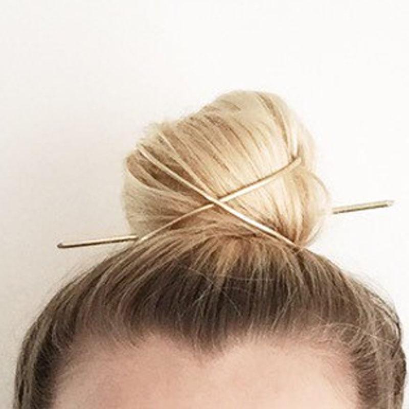 Hair Stick Original 2020 New Boho Hair Accessories Arrival Metal Gold Filled X Shaped Bun Holder Charming Vintage Bun Cage(China)