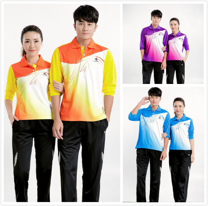 Badminton t-shirt Male/Female long sleeve table tennis T shirts + pants,fast dry tennis sport jerseys suits,Trainning clothes