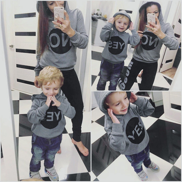 Mommy And Me Clothes Hoodies Sweatshirt Children Women Long Sleeves Letter Print Hooded Pullover Sweatshirts Family Clothing 30