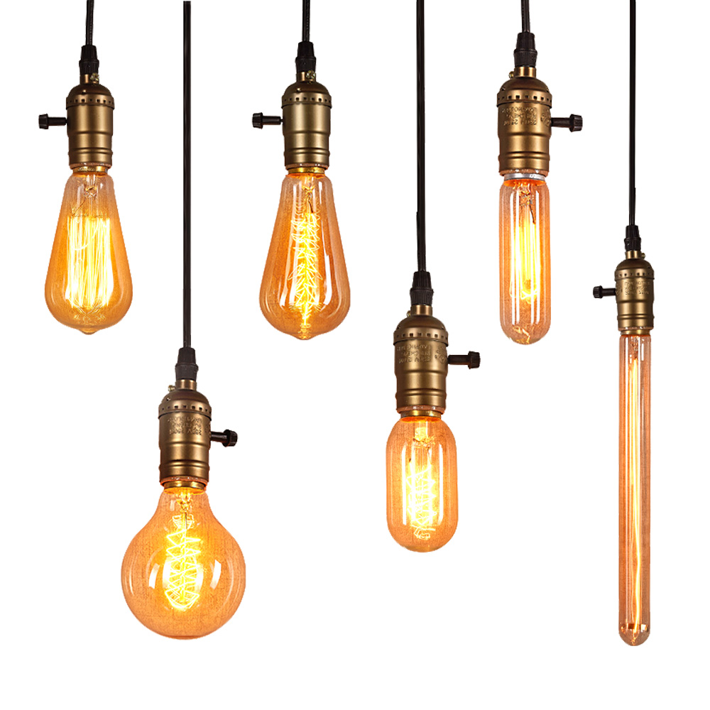 edison light bulb e27 40w 220v a19 a60 st64 t10 t45 g80 g95 g125 filament ampoule vintage retro. Black Bedroom Furniture Sets. Home Design Ideas