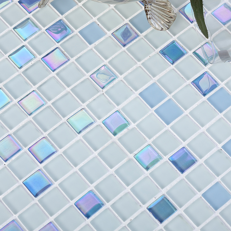 3 Colors Available Blue Pink Beige Stainless Crystal Glass Mosaic Shining Finished Bathroom