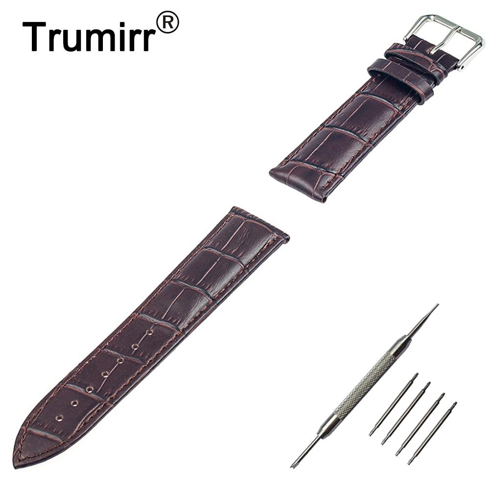 цена на 22mm Croco Genuine Leather Watch Band Bracelet Strap for Pebble Time / Steel ASUS Zenwatch 1 2 LG G Watch W100 W110 Urbane W150
