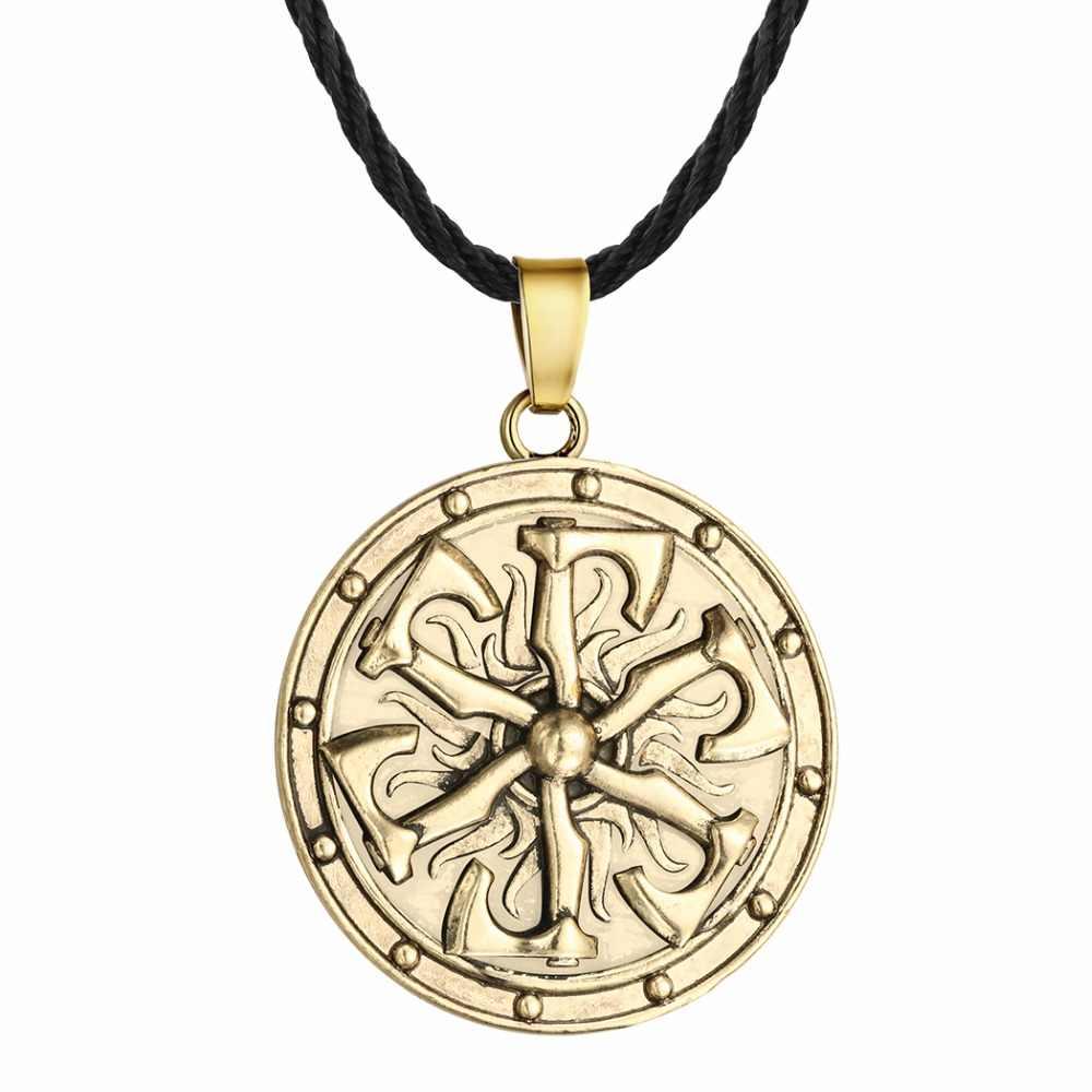 QIMING 10 sztuk/partia runy Viking naszyjnik dla mężczyzn słowiański Kolovrat Amulet talizman wisiorek wilk w stylu Vintage Rock Gothic kobiety naszyjnik
