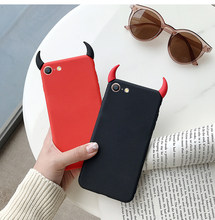 Soft Silicone Black Red Case Devil Horns Demon Angle Cover for iPhone 8 7 6 6s Plus X XS Max XR 5S SE Fashion Phone Case Fundas(China)