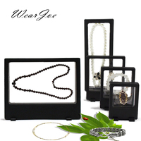 5Pcs Set Rectangle PET Membrane Jewelry Set Floating Display Stand Holder Framed Ring Earring Necklace Pendant