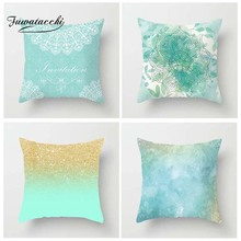 Fuwatacchi Ink Water Color Painting Cushion Cover Sand Ocean Flower Printed Pillow For Home Sofa Decorative Pillowcase