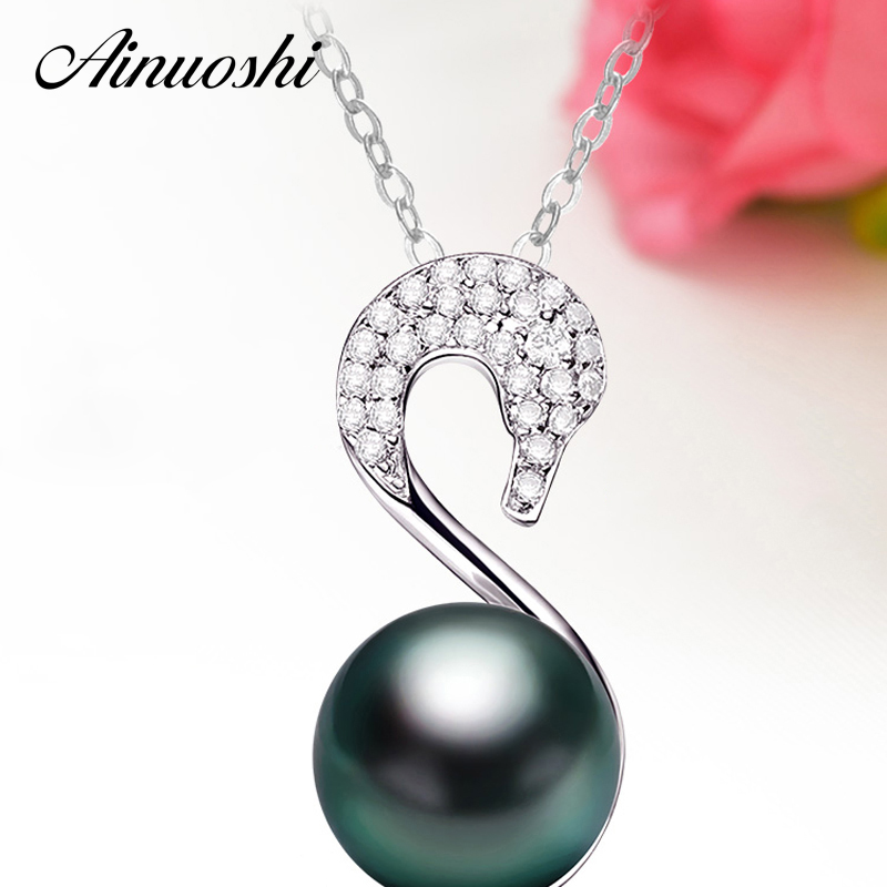 AINUOSHI 925 Sterling Silver Goose Shaped Necklace Pendants Natural South Sea Black Tahiti Pearl 10mm Round Pearl Women Necklace ainuoshi 925 sterling silver leaves shaped pearl earrings 9 5 10mm natural tahitian black pearl round pearl lover stud earrings