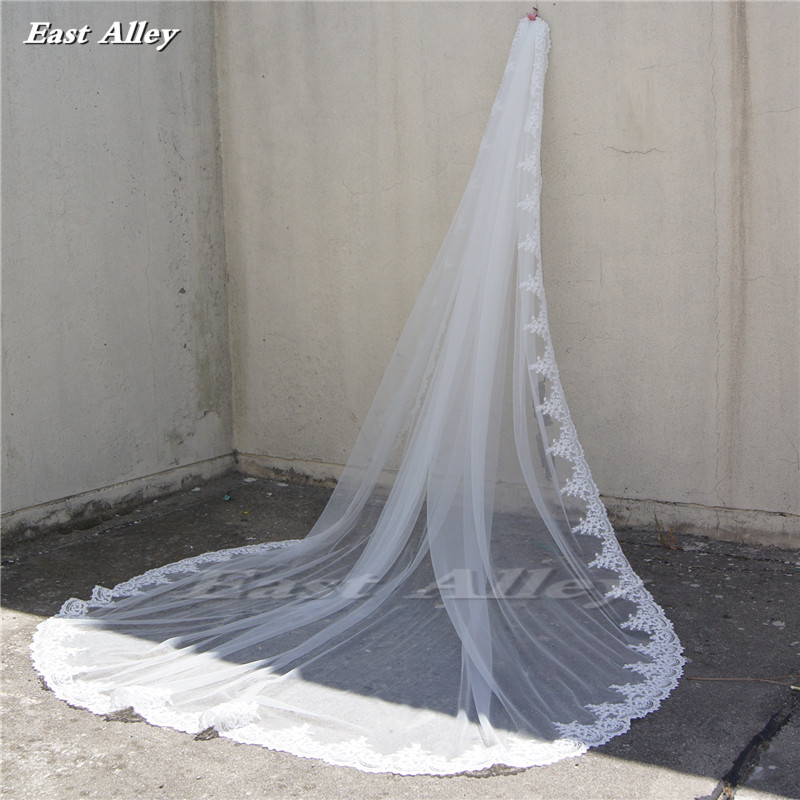 1 Layer Cathedral Bridal Veil 300cm Long ,250cm Wide Lace Wedding Veil Hochzeitsschleier Voile De Mariage